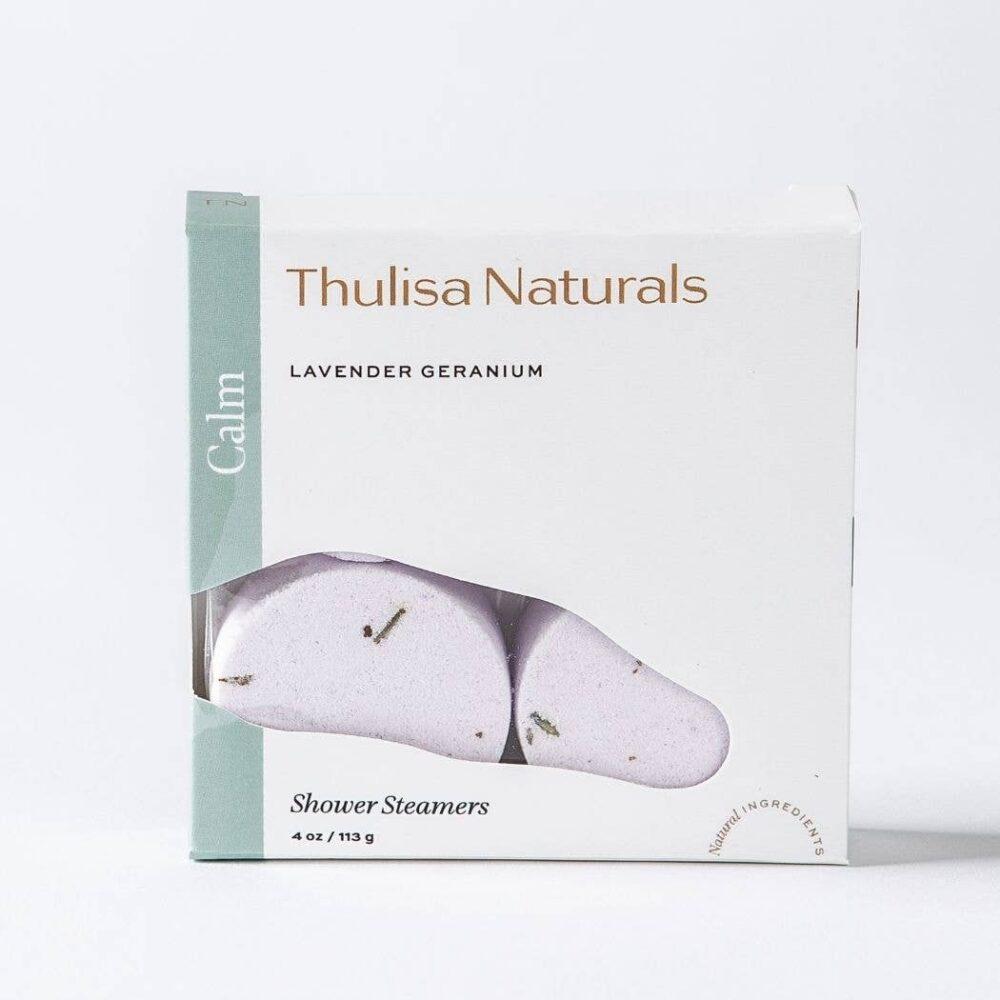 Thulisa Naturals Lavender Geranium Shower Steamer 4-pack